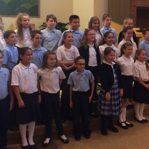 The 5th graders recited a touch chorale piece.