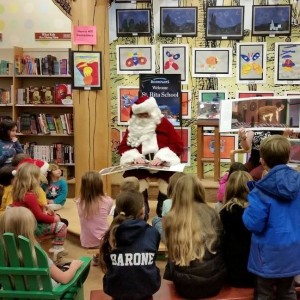 Santa reading The Night Before Christmas during our Barnes & Noble night.