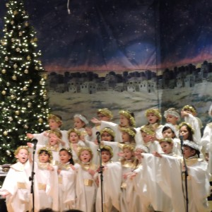 The Kindergartners were the angel choir in the play.