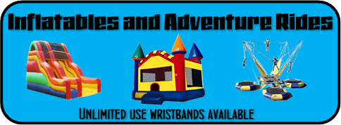 Inflatable and Adventure Rides - unlimited use wristbands available